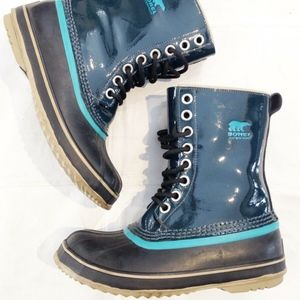 SOREL WATERPROOF TEAL PATENT DUCK SNOW BOOTS 7